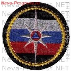 Нашивка МЧС России круглый. Звезда МЧС на фоне флага России (желтый кант)