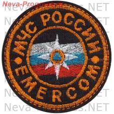 Нашивка МЧС России круглый. EMERCOM кокарда (оранжевый кант)
