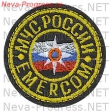 Нашивка МЧС России круглый. EMERCOM кокарда (желтый кант)