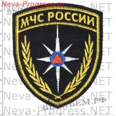 Нашивка МЧС России треугольник широкий со звездой МЧС (черный фон)