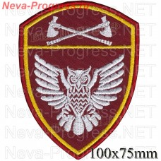 "The patch for the SPC, Privolzhsky branch of FSUE ""Okhrana"" of the Russian Federation VNG, Regardie, national guard RF (von MOSS, maroon, olive, or black), not in the order of 6"