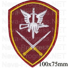 Patch - the insignia for the functional purpose of military servants and officers of the management bodies of the special forces of the North-Caucasian district of national guard troops of the Russian Federation, Regardie, national guard RF (maroon, olive