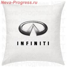 Подушка с вышитым логотипом и надписью INFINITI в салон автомобиля, размер и цвет выбирайте в опциях