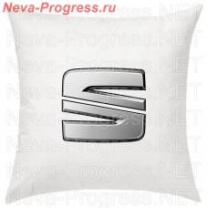 Подушка с вышитым логотипом SEAT в салон автомобиля, размер и цвет выбирайте в опциях
