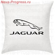 Подушка с вышитым логотипом и надписью JAGUAR в салон автомобиля, размер и цвет выбирайте в опциях
