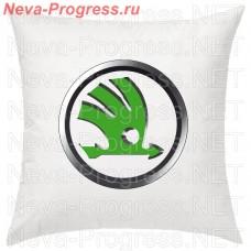 Подушка с вышитым логотипом SKODA в салон автомобиля, размер и цвет выбирайте в опциях