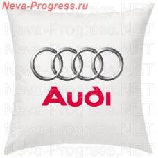 Подушка с вышитым логотипом и надписью AUDI в салон автомобиля, размер и цвет выбирайте в опциях