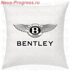 Подушка с вышитым логотипом и надписью BENTLEY в салон автомобиля, размер и цвет выбирайте в опциях