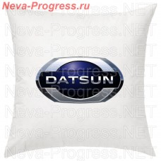 Pillow with embroidered logo DATSUN saloon car, size and choose color in the options