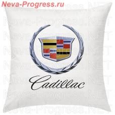 Подушка с вышитым логотипом и надписью CADILLAC в салон автомобиля, размер и цвет выбирайте в опциях