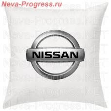 Подушка с вышитым логотипом NISSAN  в салон автомобиля, размер и цвет выбирайте в опциях