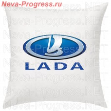 Cushion with embroidered logo and lettering LADA in the interior of the car, size and choose color in the options