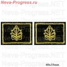 Нашивка петлицы инжинерные войска (желтая вышивка метанитью на оливе) цена за пару петличек