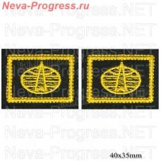 Нашивка петлицы ВКС (желтая вышивка на оливе) цена за пару петличек