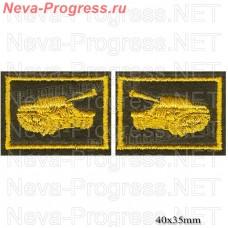 Нашивка петлицы танковые войска, желтая вышивка на оливе (цена за пару)