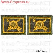Нашивка петлицы РВСН желтая вышивка на оливе (цена за пару)