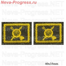 The strategic missile forces patch badge yellow embroidery on olive (price per pair)