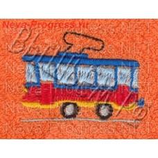 Полотенце с вышивкой  трамвая  размеры и цвета в ассортименте