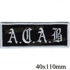 """Нашивка РОК атрибутика """"A.C.A.B"""" белая вышивка оверлок, черный фон, липучка или термоклей."""