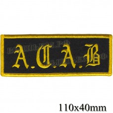 "Stripe ROCK paraphernalia ""A. C. A. B"" yellow embroidery serger, black background, Velcro or glue."