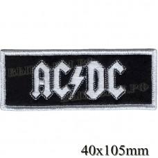 "Stripe ROCK paraphernalia ""AC DC"" white embroidery lines, black background, Velcro or glue."
