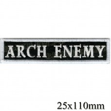 "Stripe ROCK paraphernalia ""Arch enemy"" white embroidery lines, black background, Velcro or glue."