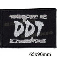 """Нашивка РОК атрибутика """"DDT"""" белая вышивка, оверлок, черный фон, липучка или термоклей."""