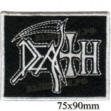 "Stripe ROCK paraphernalia ""Death"", white embroidery, serger, black background, Velcro or glue."