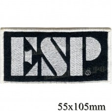 "Stripe ROCK paraphernalia ""ESP"" white embroidery, black background, Velcro or glue."