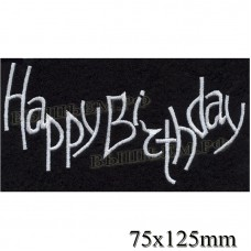 "Stripe ROCK paraphernalia ""Happy Birthday"" in white embroidery, black background, overlock machine, Velcro or glue."