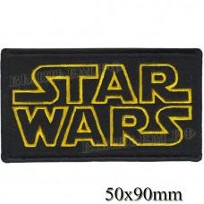 "Stripe ROCK paraphernalia ""STAR WARS"" yellow embroidery, black background, Velcro or glue."