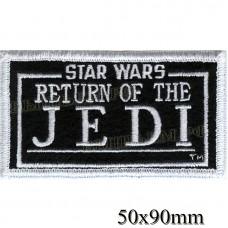 "Нашивка РОК атрибутика "" star wars return of the JEDI"" белая вышивка, черный фон, оверлок, липучка или термоклей."