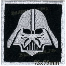 "Stripe ROCK paraphernalia ""Darth Vader (Darth Vader)"" white embroidery, black background, overlock machine, Velcro or glue."