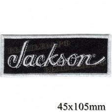 """Нашивка РОК атрибутика """"Jackson"""" белая вышивка, черный фон, оверлок, липучка или термоклей."""