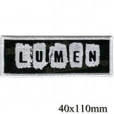 "Stripe ROCK paraphernalia ""LUMEN"" white embroidery, black background, overlock machine, Velcro or glue."