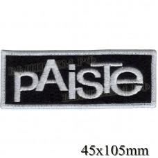 "Stripe ROCK paraphernalia ""Paiste cymbals."" white embroidery, black background, overlock machine, Velcro or glue."