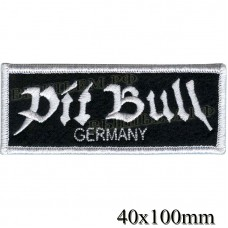 "Stripe ROCK paraphernalia ""Pit Bull"" white embroidery, black background, overlock machine, Velcro or glue."