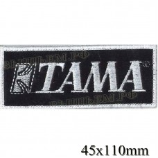 """Нашивка РОК атрибутика """"TAMA"""" белая вышивка, оверлок, черный фон, липучка или термоклей."""