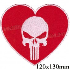 """Stripe ROCK paraphernalia """"skull heart"""" red and white embroidery, serger, black background, Velcro or glue."""