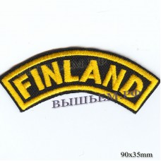 "Stripe ROCK paraphernalia ""FINLAND"" yellow embroidery, black background, overlock machine, Velcro or glue."