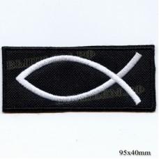 """Нашивка РОК атрибутика """"Рыбка"""" белая вышивка, черный фон, липучка или термоклей."""