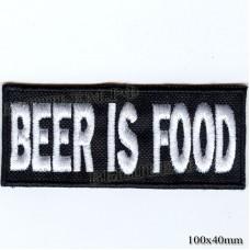 """Нашивка РОК атрибутика """"BEER IS FOOD"""" белая вышивка, черный фон, липучка или термоклей."""