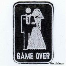 """Нашивка РОК атрибутика """"GAME OVER"""" белая вышивка, черный фон, липучка или термоклей."""