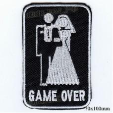"Stripe ROCK paraphernalia ""GAME OVER"" white embroidery, black background, Velcro or glue."