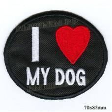 """Нашивка РОК атрибутика """"I live My DOG"""" белая вышивка, черный фон, липучка или термоклей."""