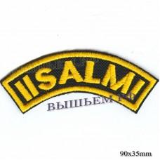 """Нашивка РОК атрибутика """"iisalmi"""" желтая вышивка, черный фон, липучка или термоклей."""