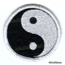"""Нашивка РОК атрибутика """" Инь Янь"""" белая вышивка, черный фон, оверлок, липучка или термоклей."""