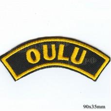 """Нашивка РОК атрибутика """"oulu"""" желтая вышивка, черный фон, липучка или термоклей."""