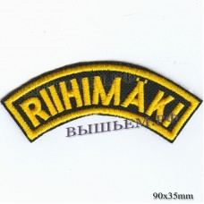 "Stripe ROCK paraphernalia ""riihimaki"" yellow embroidery, black background, Velcro or glue."