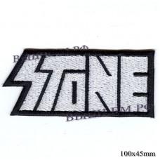 "Stripe ROCK paraphernalia ""STONE"" white embroidery, serger, black background, Velcro or glue."